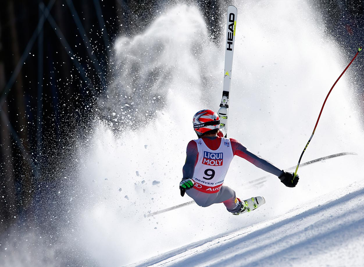 Bode Miller of the U.S. crashes during the super-G competition in Beaver Creek, Colo. Miller did not finish the race.