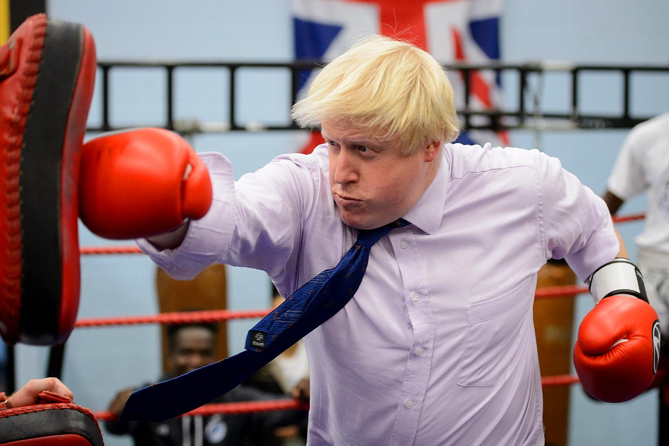 Boris Johnson, the mayor of London, during his visit to Fight for Peace Academy in North Woolwich, London.