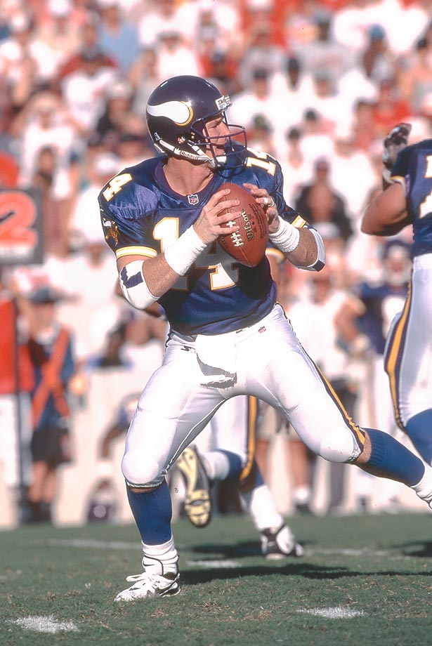 In a 1997 game against Carolina, Brad Johnson attempted to throw the ball into the end zone only to have it batted down -- straight into his arms. He grabbed the ball and dashed into the end zone, impressively catching his own touchdown pass.