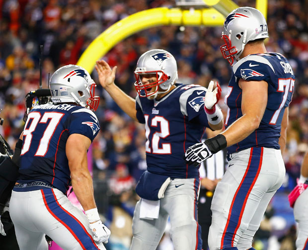 Rob Gronkowski, Tom Brady and Nate Solder :: Getty Images