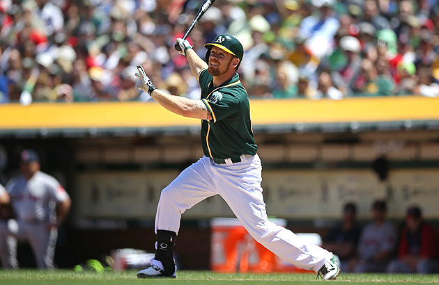 Brandon Moss has 18 home runs so far this season, and shows no signs of slowing.