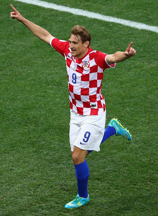 Nikica Jelavic of Croatia celebrates after a first half goal.