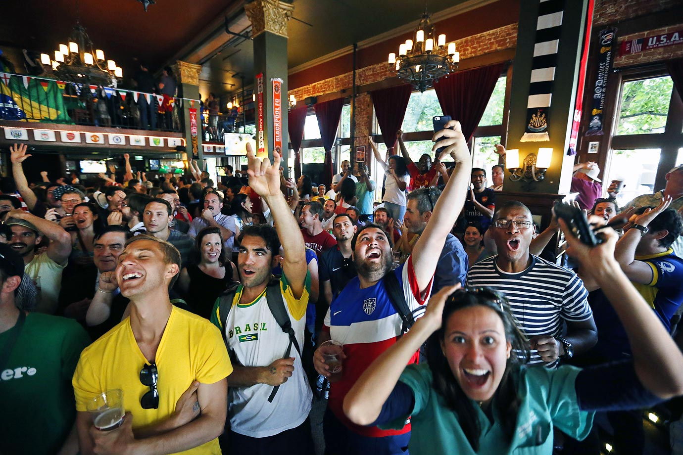 Brazil fans inside The Three Lions World Football Pub, Denver, Colo.