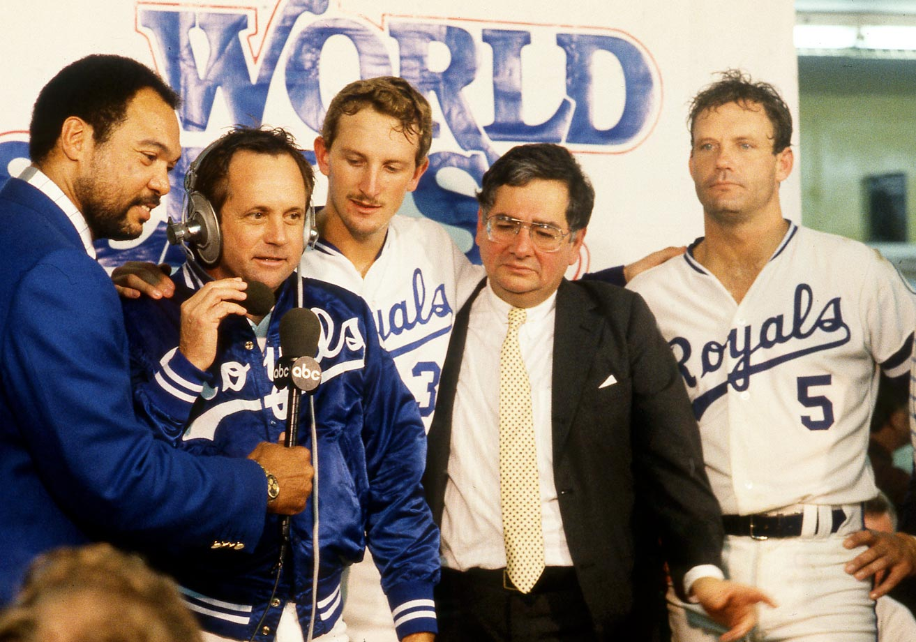 Reggie Jackson interviews manager Dick Howser during the World Series Trophy presentation after Game 7.