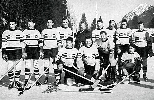 The British (or were they?) gold medal hockey team at the Garmisch-Partenkirchen Games.