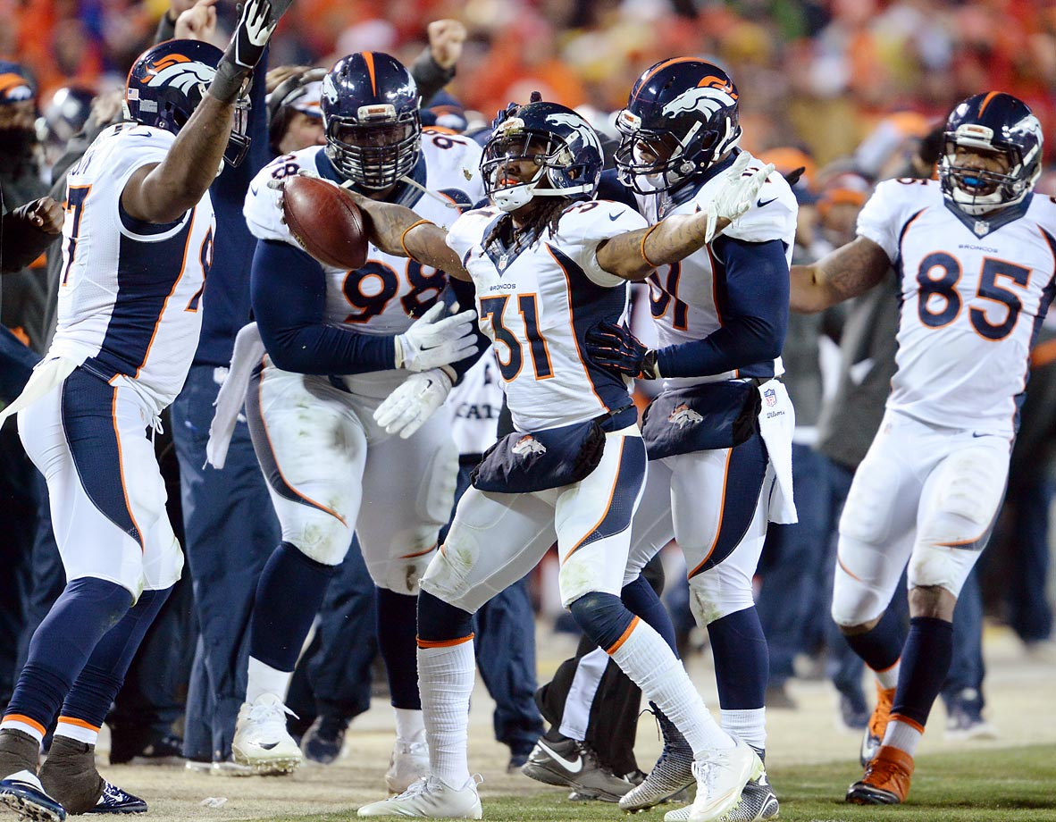 The Broncos' Omar Bolden celebrates after recovering a punt that hit the Chiefs' Marcus Cooper. The Broncos defeated the Chiefs 29-16.