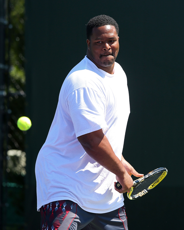 Super Bowl champion Bryant McKinnie teamed up with Katarina Srebotnik to play a mixed doubles match against Ryan Tannehill and Nadia Petrova during the Sony Open in 2013.