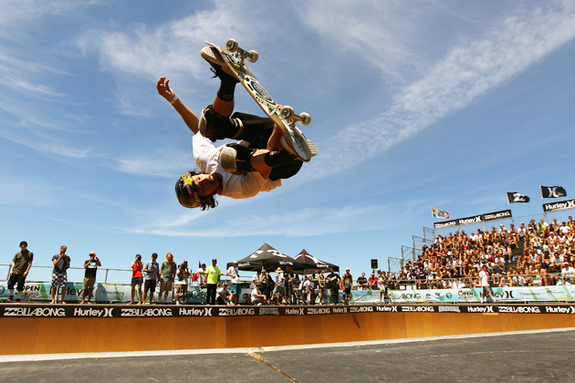 Bucky Lasek practices skating in the 'Beach Bowl' during the 2012 Australian Surfing Open in Manly, Australia.