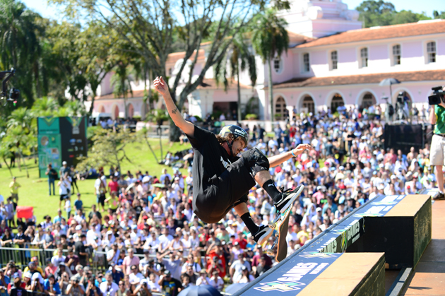 Bucky Lasek competing in Skateboard Vert FInal during X Games Foz Do Iguacu in 2013.