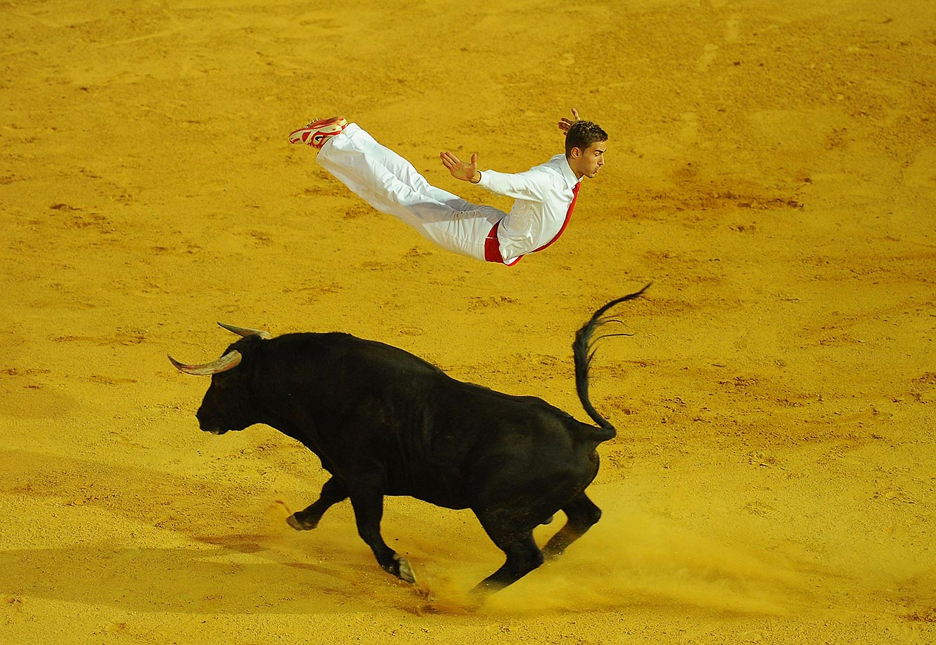 Fabien Napias of the French Recortadores company Passion Saltador leaps over a charging bull at the end of the Liga de Corte Puro finals.  The art consists of leaping, diving and somersaulting over charging bulls.