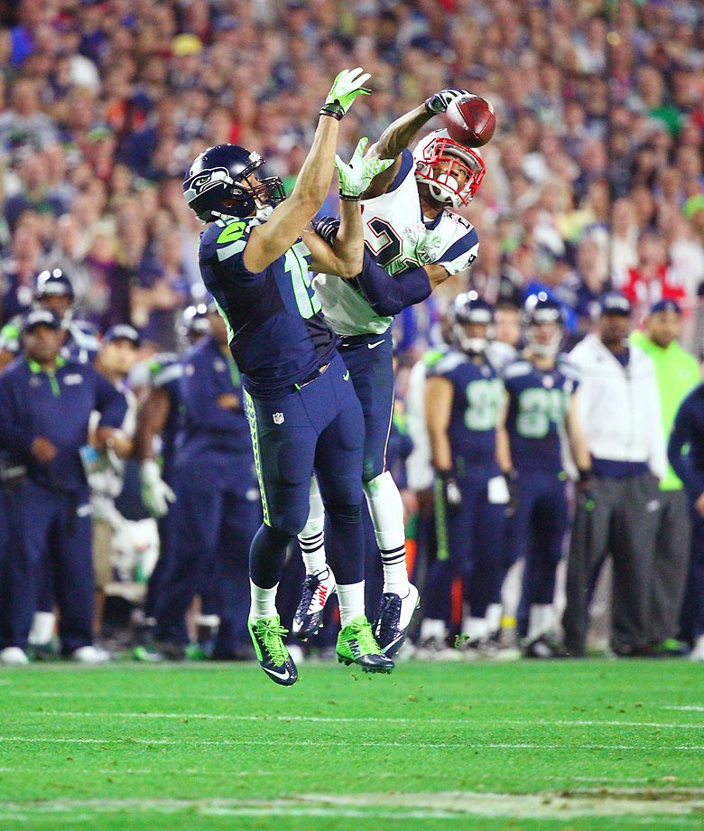 Malcolm Butler of the Patriots bats down a pass intended for Jermaine Kearse in the Super Bowl.