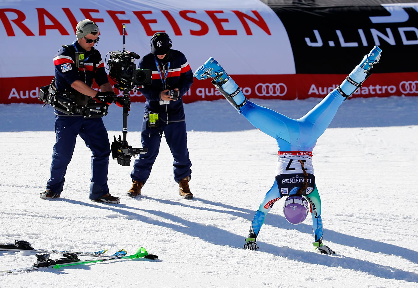 Slovenia's Tina Maze does a cartwheel after finishing her slalom run at the world championships in Beaver Creek, Colo.