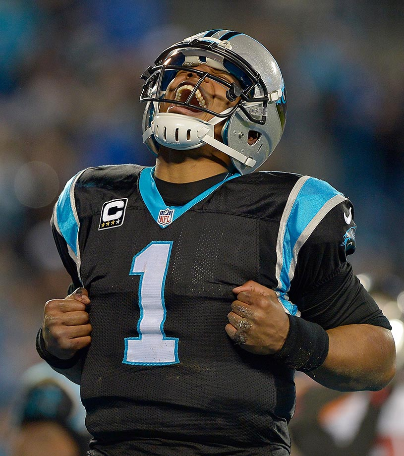 Cam Newton celebrates a touchdown run against the Tampa Bay Buccaneers in Week 17 of the 2015 NFL season. His 10 scoring runs were the most of any quarterback in the league and tied for the third-most among all players.                                                               Text credit: Daniel Hersh