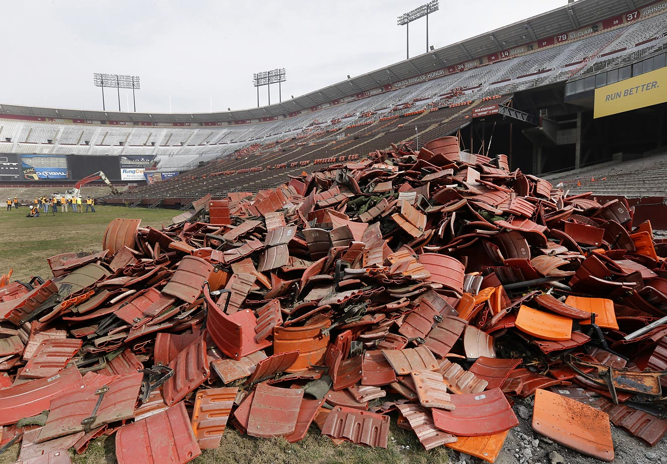 Say goodbye to Candlestick Park. Stadium seats are piled up as demolition continues.