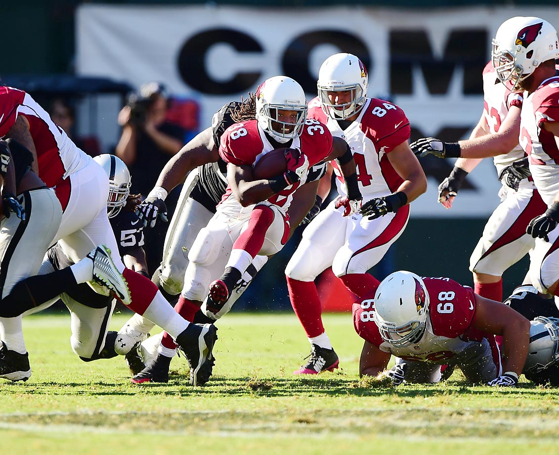Andre Ellington rushed for 88 yards against the Oakland Raiders in the Cardinals' 24-13 win.