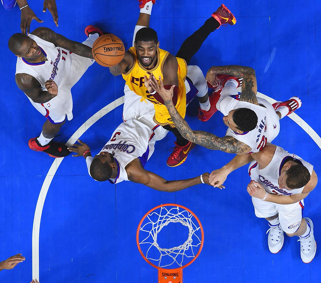 Cleveland Cavaliers point guard Kyrie Irving attempts a layup during the Clippers-Cavaliers game at Staples Center in Los Angeles on Jan. 16.