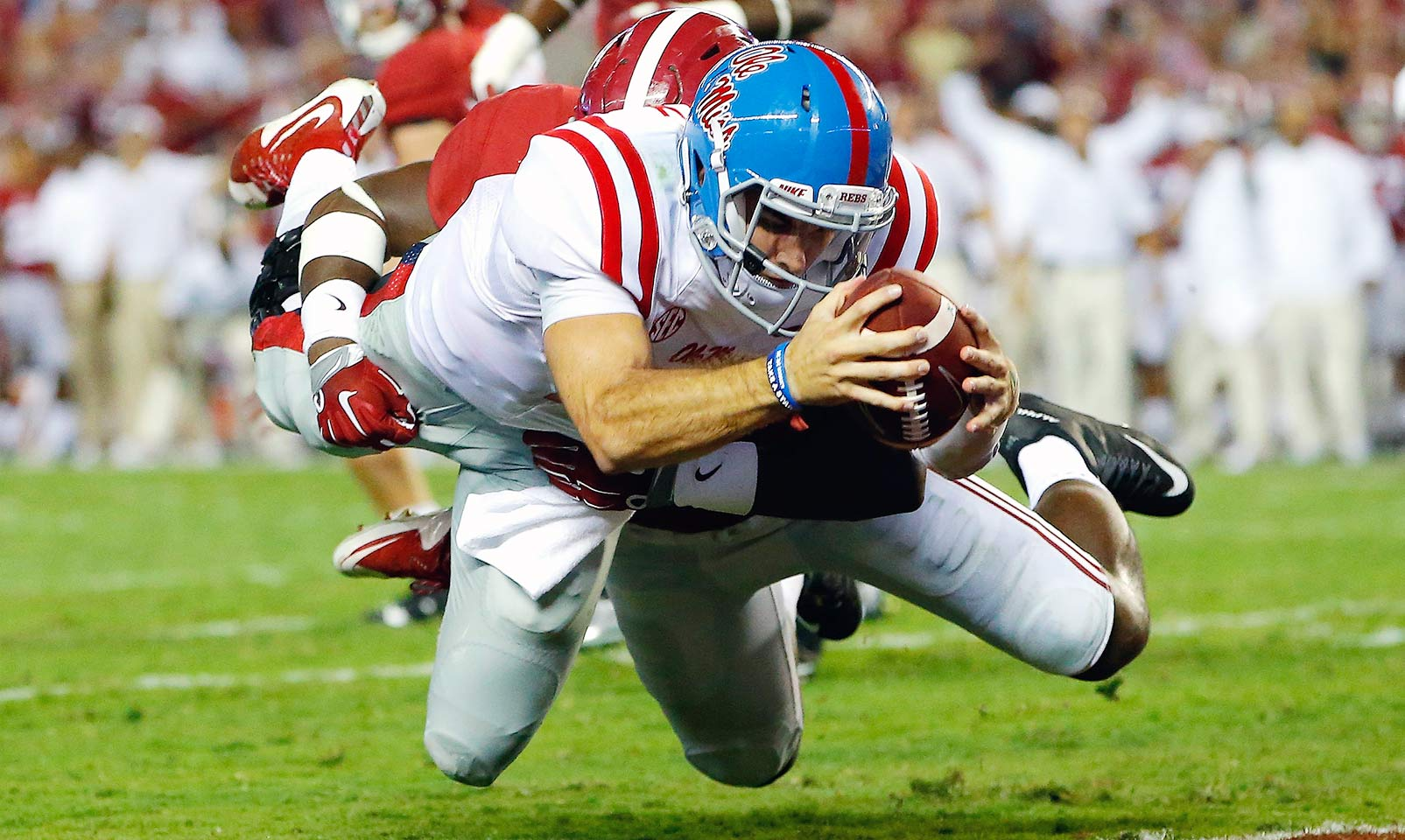 Ole Miss 43, Alabama 37: For the second straight year, the Rebels took down the Crimson Tide, this time in Tuscaloosa. Ole Miss capitalized on five Alabama turnovers and 341 yards passing from Chad Kelly to build a 43–24 lead before narrowly hanging on for the win.