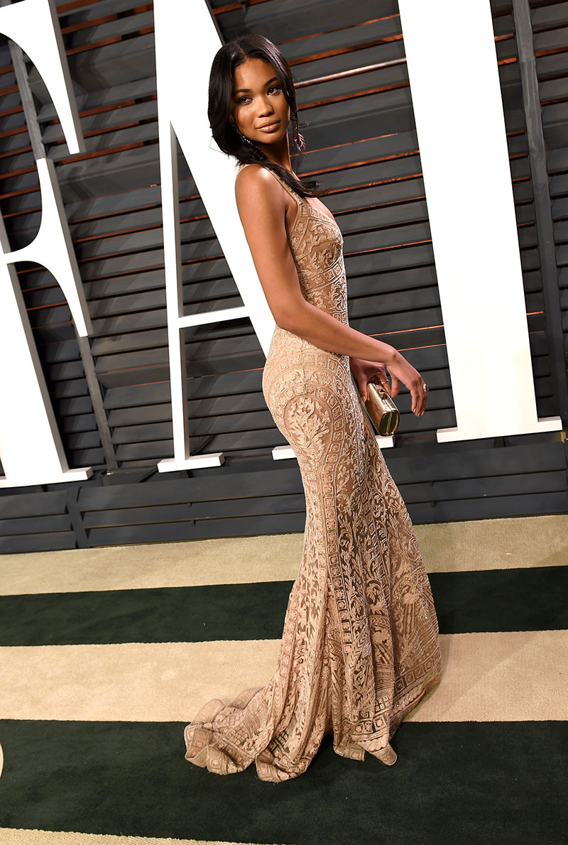 Chanel Iman attends the 2015 Vanity Fair Oscar Party