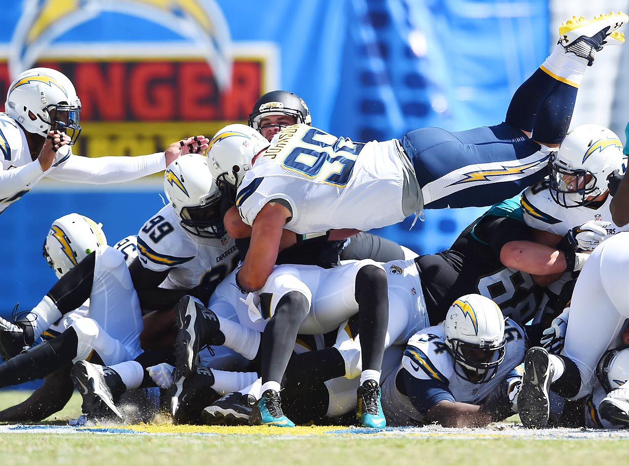 Jarret Johnson of the San Diego Chargers brings down quarterback Blake Bortles of the Jacksonville Jaguars. The Chargers won 33-14 in Bortles' first career NFL start.