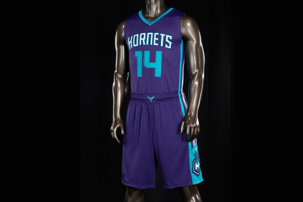 The Charlotte Hornets' new purple road jerseys.