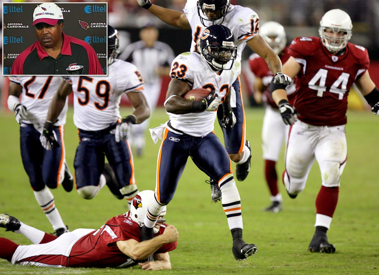 "Cardinals coach Dennis Green's rant -- ""They are who we thought they were."" -- is the most famous part of Chicago's comeback from 20 points down in the third quarter. But the most impressive part of the win might be that the team didn't score an offensive touchdown. Quarterback Rex Grossman committed six turnovers and Chicago's three touchdowns came on two fumble returns and a punt return. The Bears also overcame a 20-point deficit against Tampa Bay in 1987."