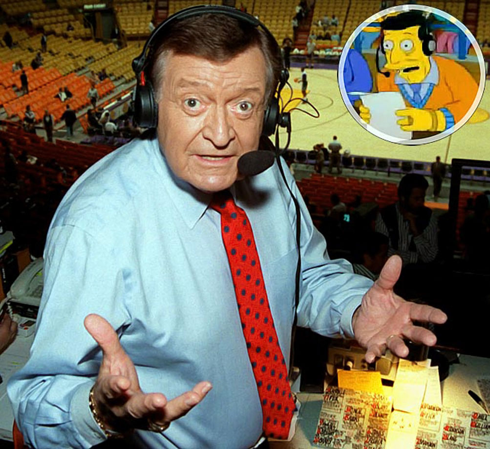 Memorable Moment — After Homer's heroism is exposed as mere dumb luck, people start to refer to other instances of dumb luck as 'pulling a Homer'. Chick Hearn is heard calling a Lakers game. Hearn: ''The Lakers have the ball. Magic Johnson coming down the floor on a fast break. Magic stops. His feet slip out from under him! The ball flies out of his hands! Hits the referee in the head! Goes in the basket! It's a three-point play! The Lakers win!'' Magic: ''Looks like I pulled a Homer.'' Homer's name and picture appear in the dictionary. Homer \noun\ 1. American bonehead 2. Pull a Homer — to succeed despite idiocy