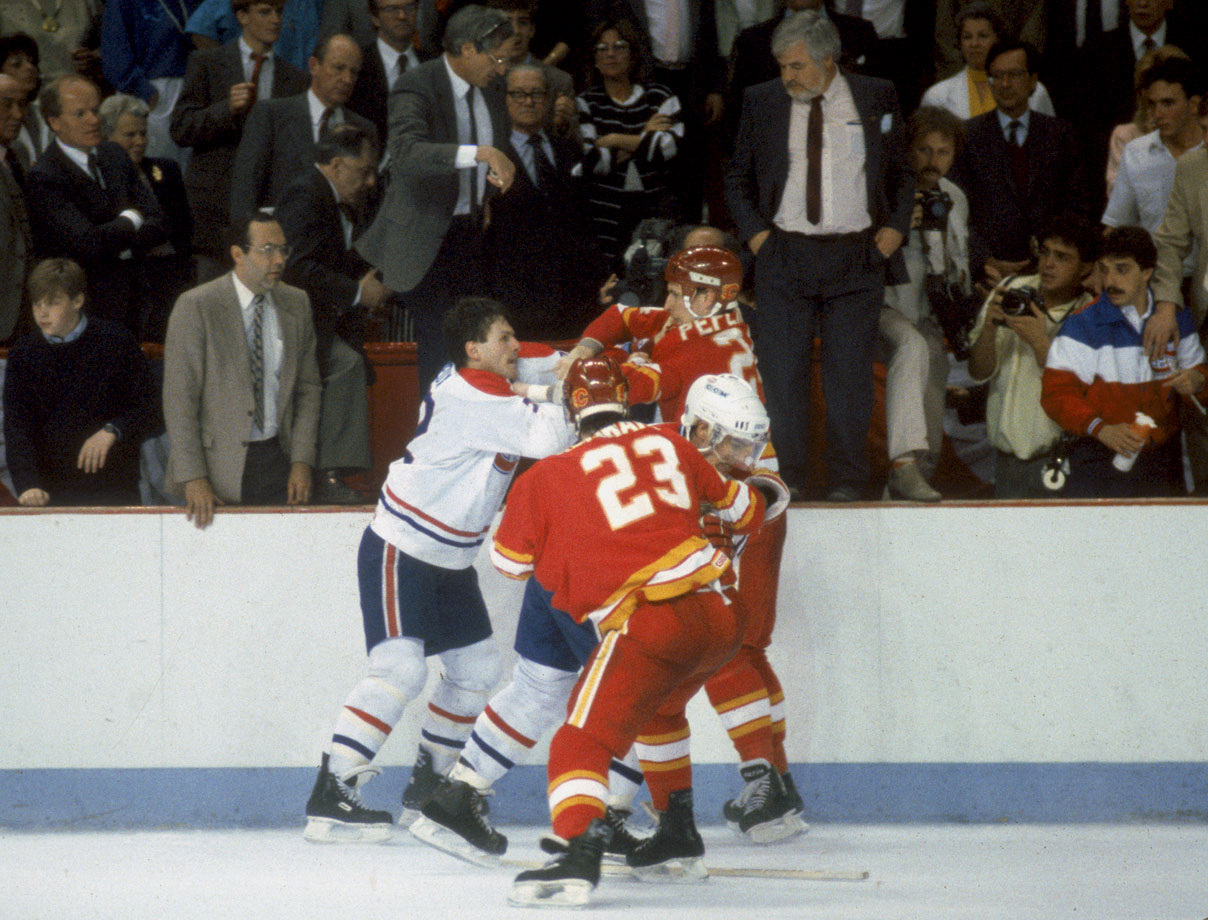 "One of the most famous NHL incidents occurred during the 1986 Stanley Cup Final when Canadiens agitator Claude Lemieux (left) got into a scrap with Calgary's Jim Peplinski. Lemieux scratched at Peplinski's eyes and the bit the Flames' forward's finger to the bone. ""I was skating to the penalty box and showed the bloody finger to (referee) Denis Morel,"" Peplinski later recalled to the Toronto Globe and Mail . ""He said, 'How do I know you didn't do it to yourself?'"" Peplinski got a tetanus shot and remarked, ""I didn't know they allowed cannibalism in the NHL."" Here's the video of the incident ."