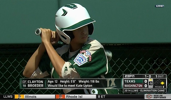 Clayton Broeder, the No. 2 hitter for the Pearland, Texas, Little League World Series team wants to meet Kate Upton.