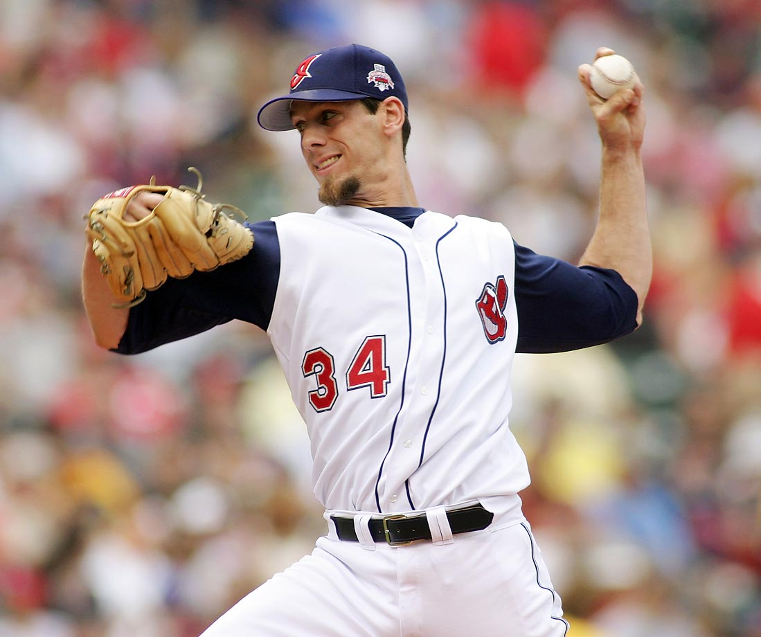 Lee made his major league debut against the Twins in September 2002. He earned his first win on June 30, 2003 (pictured), but returned to Cleveland's Triple-A team after the game. He rejoined the big league rotation in August.