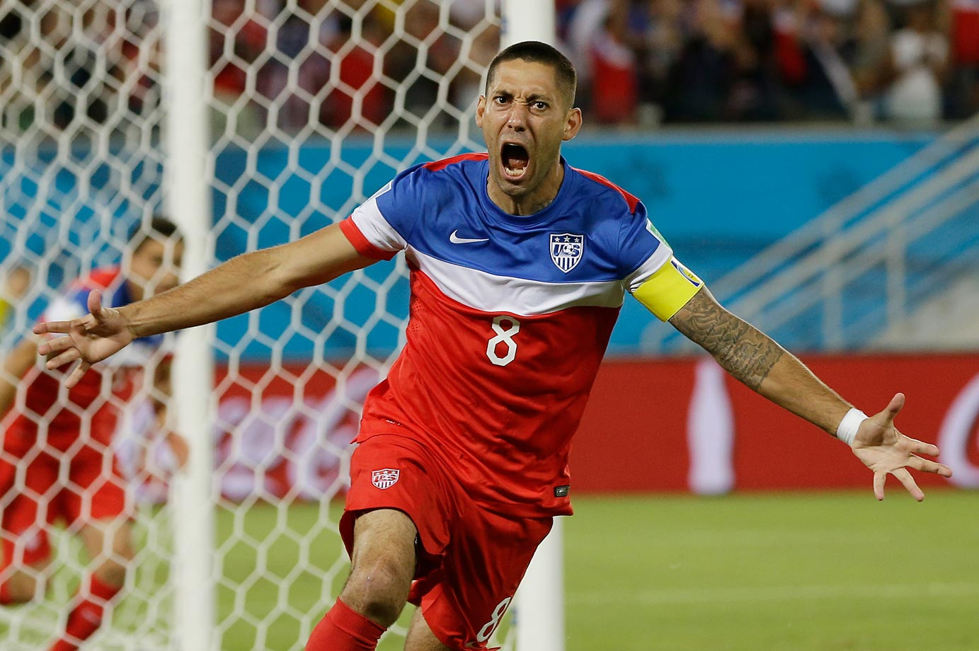 Clint Dempsey of the U.S. celebrates after scoring the opening goal during the group G World Cup soccer match against Ghana. The United States won the match 2-1.