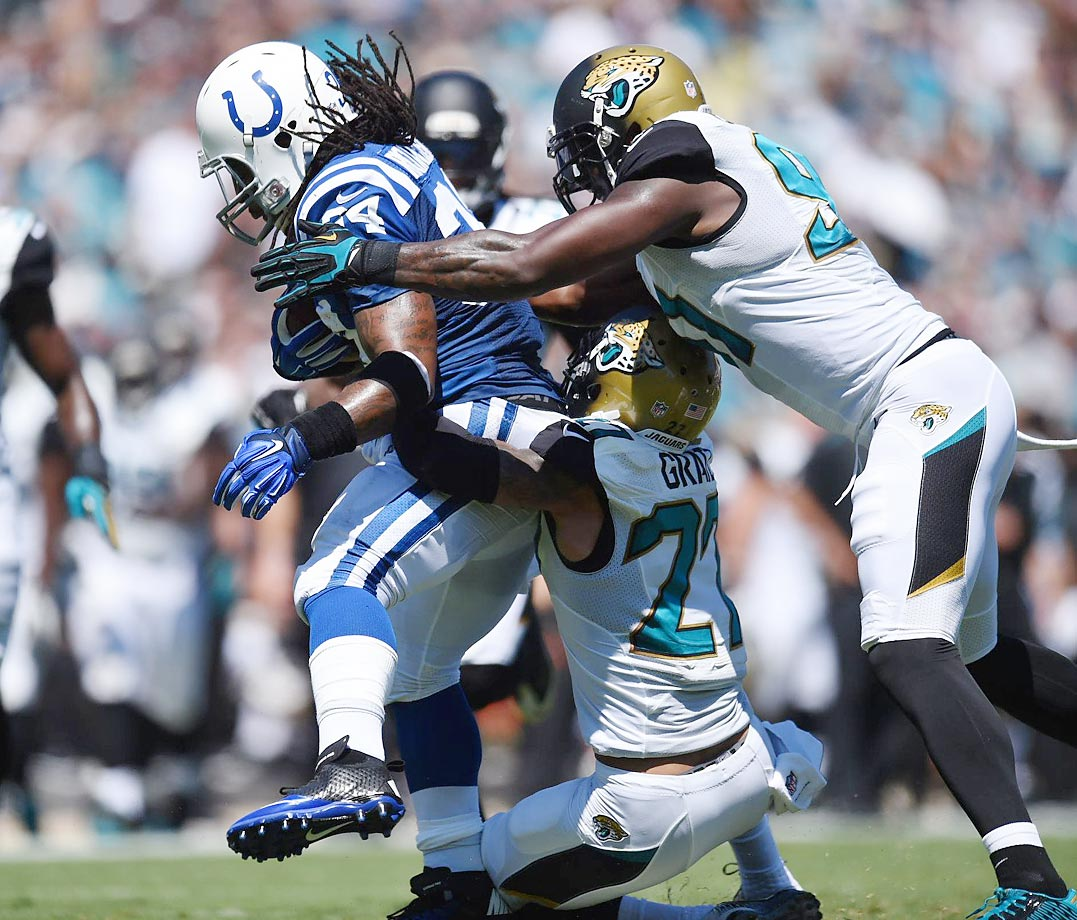 Trent Richardson of the Colts had 57 rushing yards on 14 carries and three catches for 23 yards in an easy win over the Jaguars.