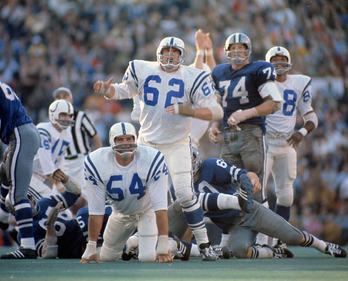 Baltimore's Tom Goode (54) and Glenn Ressler (62) watch as a 32-yard, game-winning field goal by teammate Jim O'Brien goes through the uprights in Super Bowl V against the Dallas Cowboys, in January 1971.
