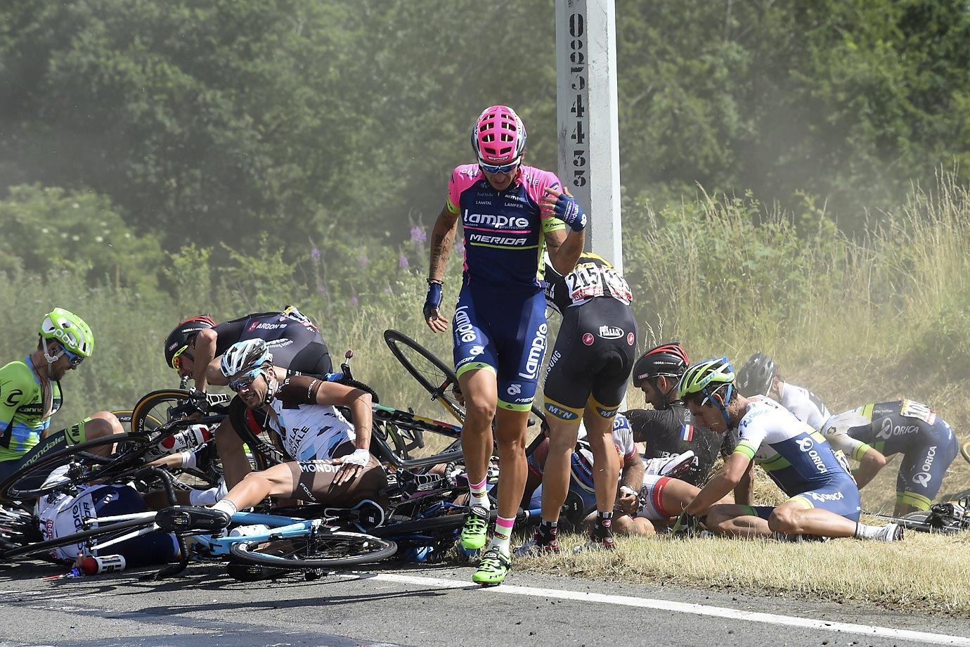 A big crash during stage 3 of the Tour de France.