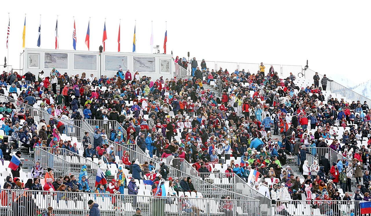 The crowd during the women's Snowboard Slopestyle competition.
