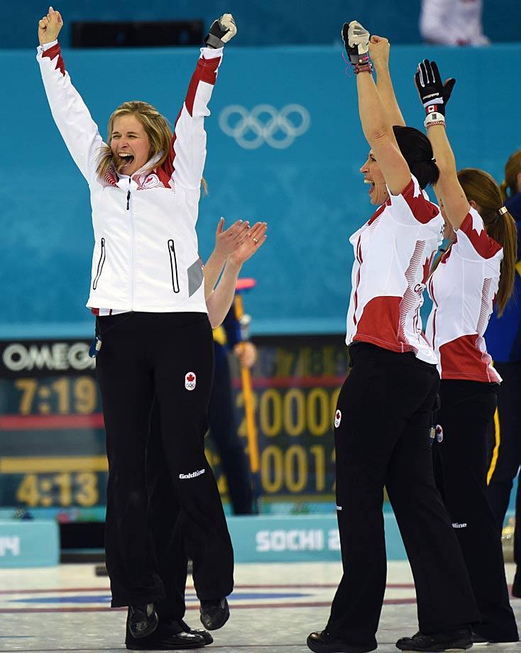 Canada skip Jennifer Jones celebrates the team's gold-medal performance.