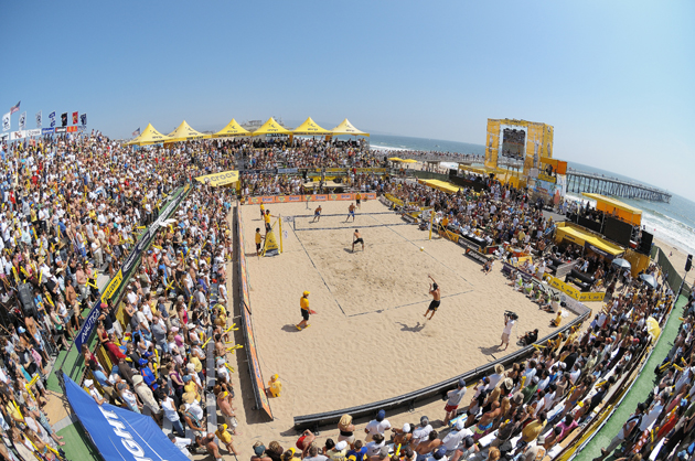 Casey Jennings and Matt Fuerbringer take on Phil Dalhausser and Todd Rogers during the Finals match of the AVP Crocs Tour Hermosa Beach Open at Hermosa Beach Pier.