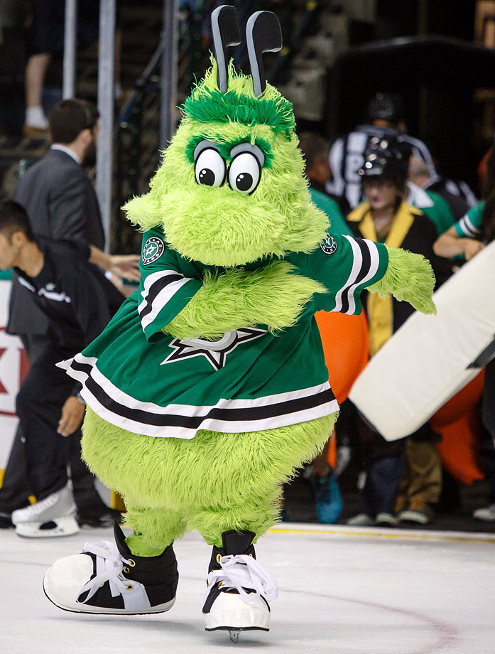 The NHL's newest mascot is an alien with hockey sticks for antennas. The outer space thing does make sense for a team called the Stars, and his name either refers to the club's official colors or, as some have speculated, Norman Green, the former owner who spirited the franchise away from Minnesota in 1993.