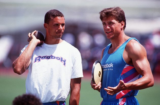 Dan O'Brien and Dave Johnson talking shop at the Modesto Relays in Modesto, California.