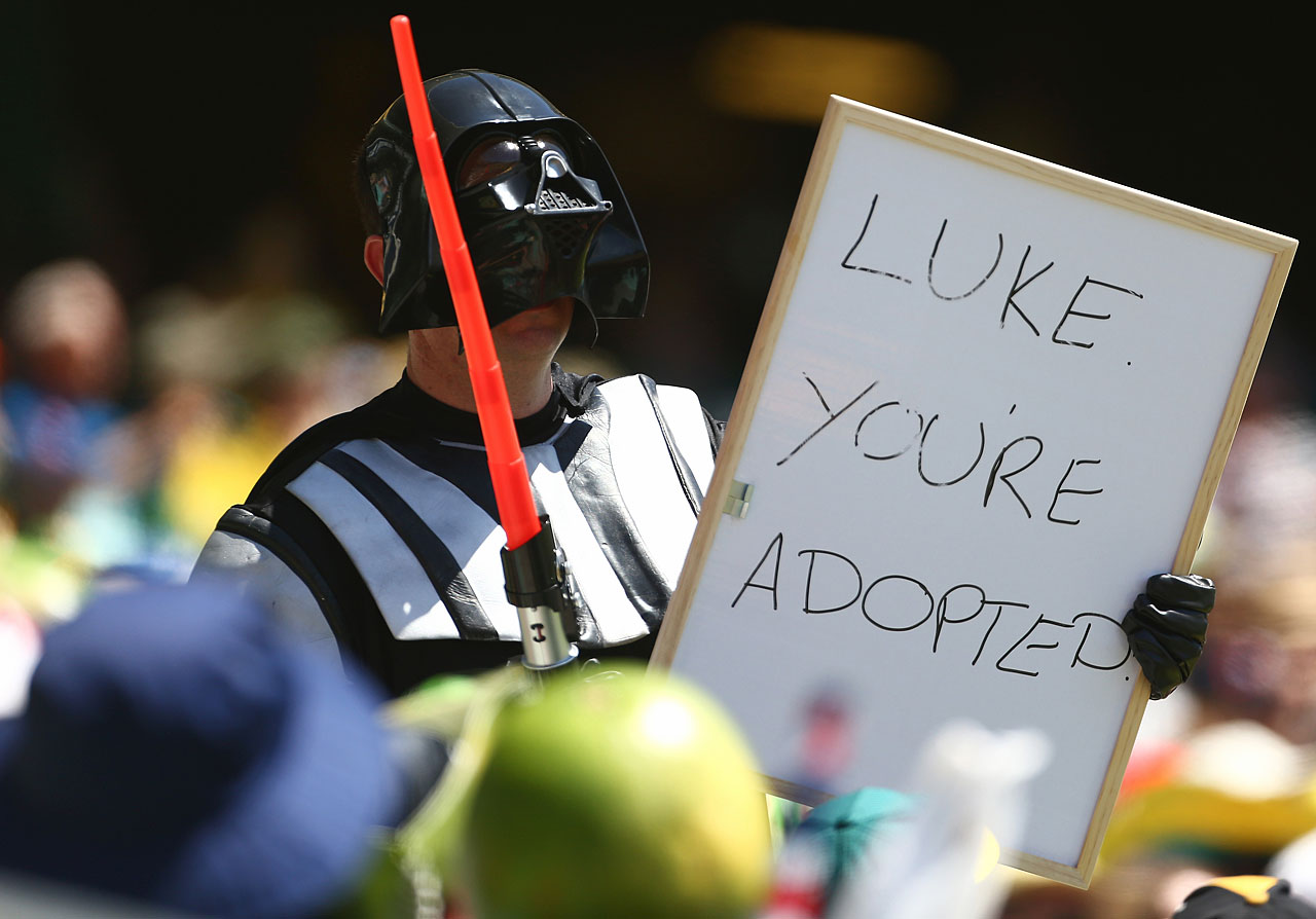 A member of the crowd dressed as Darth Vader holds up a sign during game four of the Commonwealth Bank One Day International Series between Australia and the West Indies on Feb. 8, 2013 at Sydney Cricket Ground.