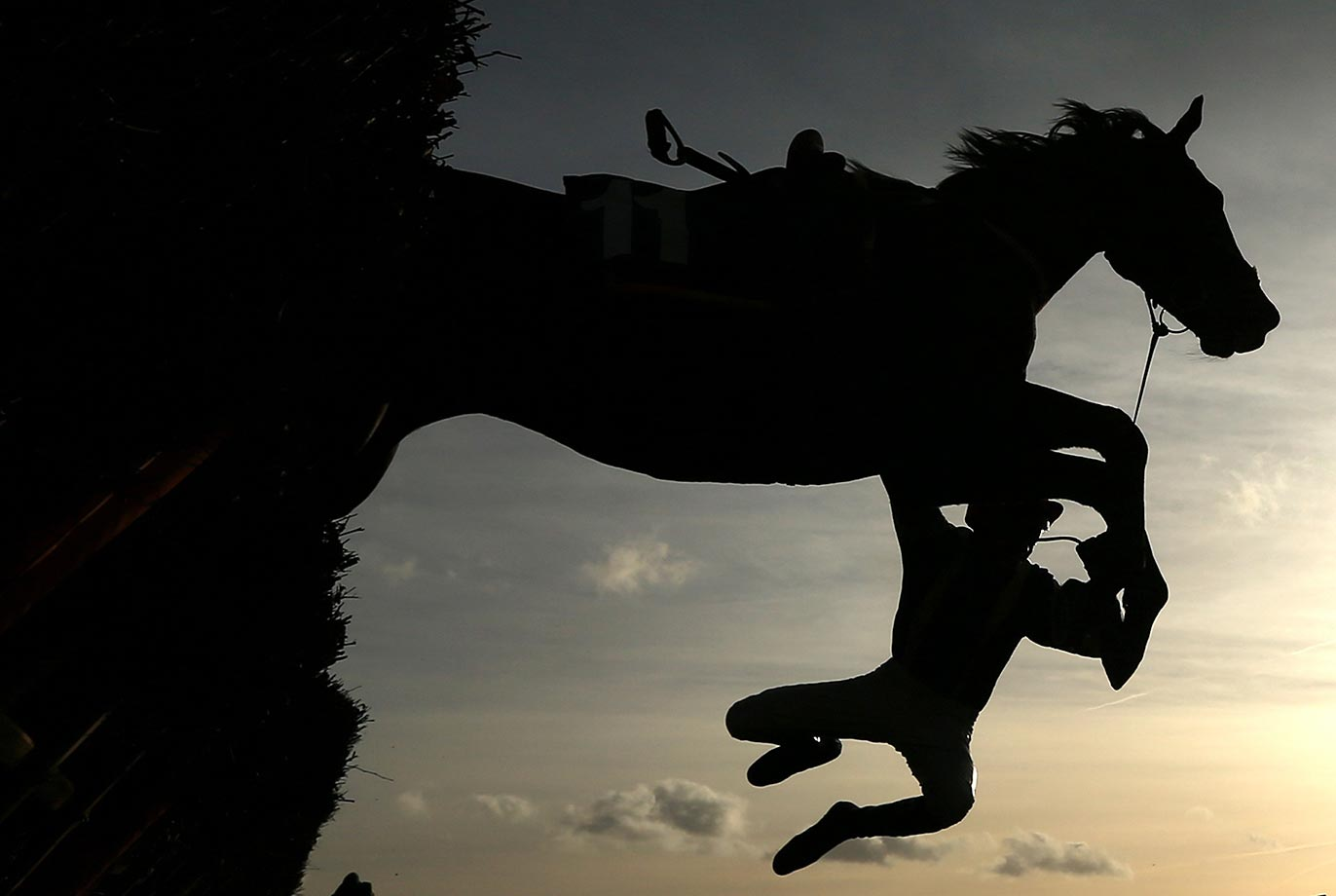 Jockey David Noonan falls from Steady Eddie at the first fence during a hurdle race at Doncaster Racecourse.