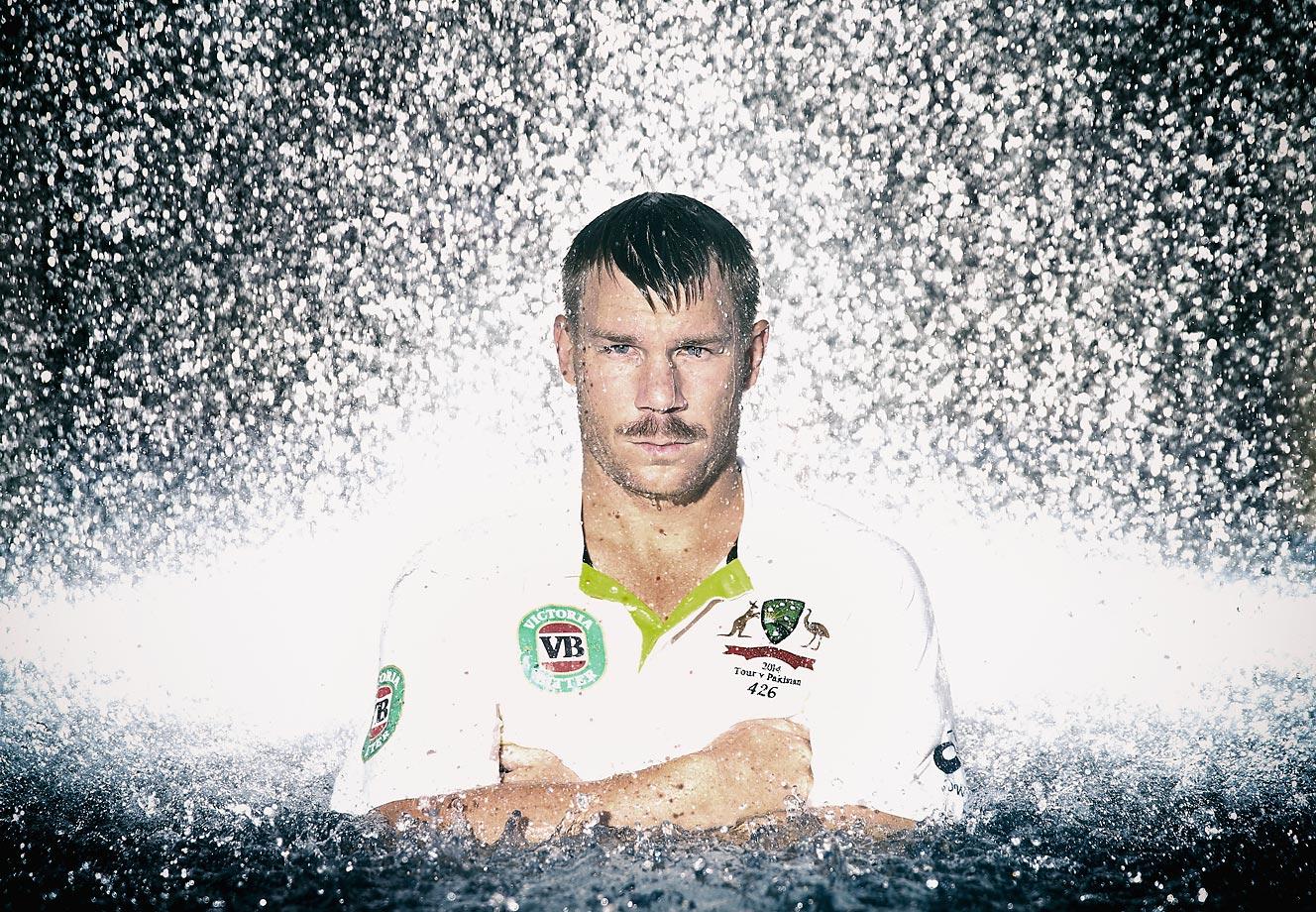David Warner of Australia poses during the Australian Cricket Team portrait day.