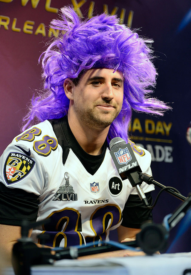 """To Ravens tight end Dennis Pitta: """"On a scale of 1 to 10, how ticklish are you?"""" Pitta's answer: """"I'm probably a five or six. You know, moderately ticklish. Good question."""""""