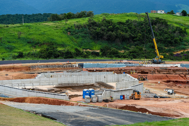 Construction in April at Deodoro Olympic Park, which will host several sports during the Rio 2016 Olympics Games.