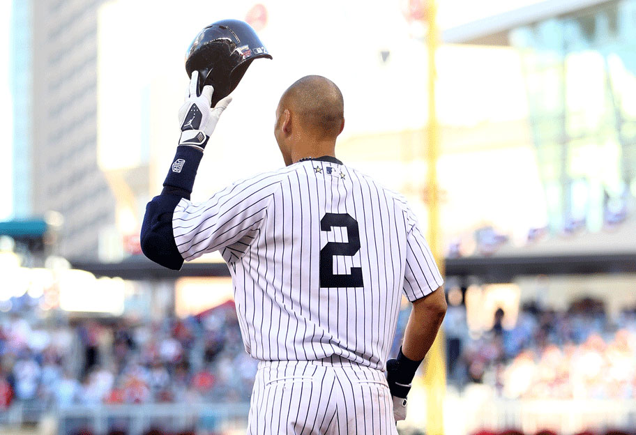 Derek Jeter doffs his helmet in appreciation before his first at-bat at the 2014 All-Star Game at Target Field in Minneapolis.
