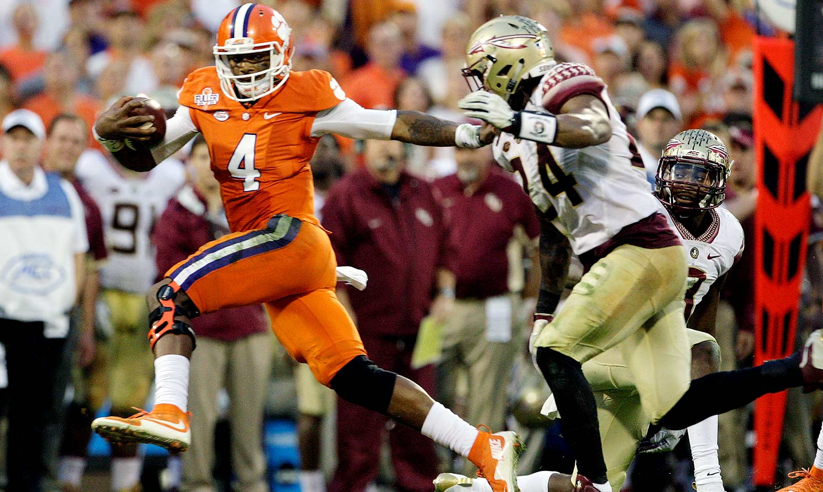 Clemson 23, Florida State 13: In their first game ranked No. 1, the Tigers overpowered the Seminoles, wearing them down with over 100 yards rushing from both Deshaun Watson and Wayne Gallman. After a 75-yard touchdown run from Dalvin Cook on the second play from scrimmage, Florida State never reached the end zone again.