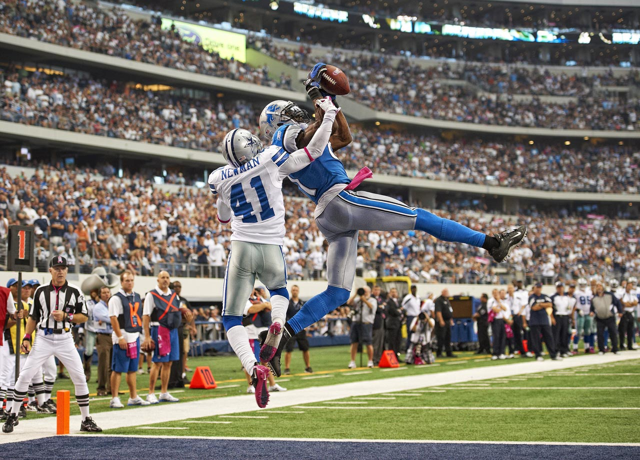 A week earlier, the Lions had overcome a 20-point deficit for an overtime win. This time, Detroit dug an even deeper hole. Dallas led 27-3 early in the third quarter, but Detroit's Bobby Carpenter and Chris Houston each returned interceptions for touchdowns. Then, Calvin Johnson dominated the final period with two touchdown catches.