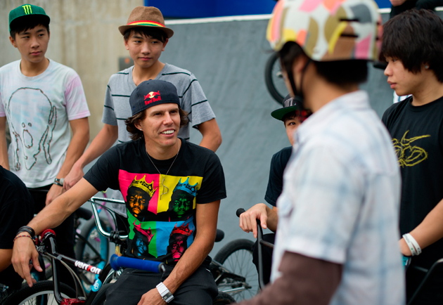 The X Games gold medalist gives advice to young riders during the Red Bull Under My Wing event at Mei Foo Stakepark in Hong Kong in November 2011.