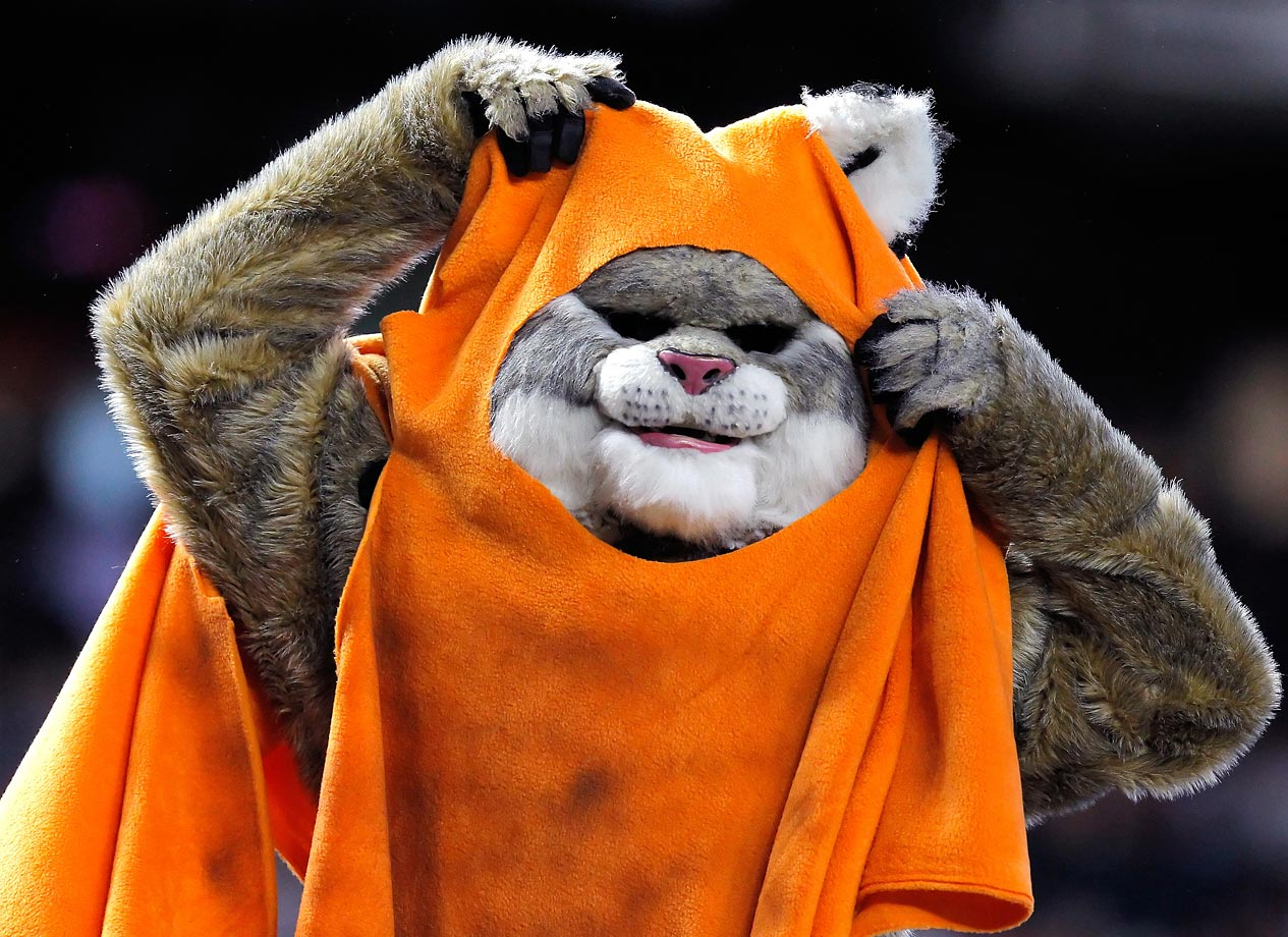 """Arizona Diamondbacks mascot Baxter dresses as an Ewok on """"Star Wars Night"""" during the D-Backs game against the San Francisco Giants on Sept. 25, 2011 at Chase Field in Phoenix."""