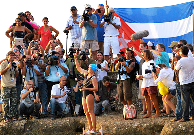Nyad with her bugle at the start of Cuba Swim, Marina Hemingway, Havana.
