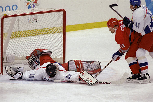 Dominik Hasek was at his wild, sprawling best in the gold medal game vs. Russia.